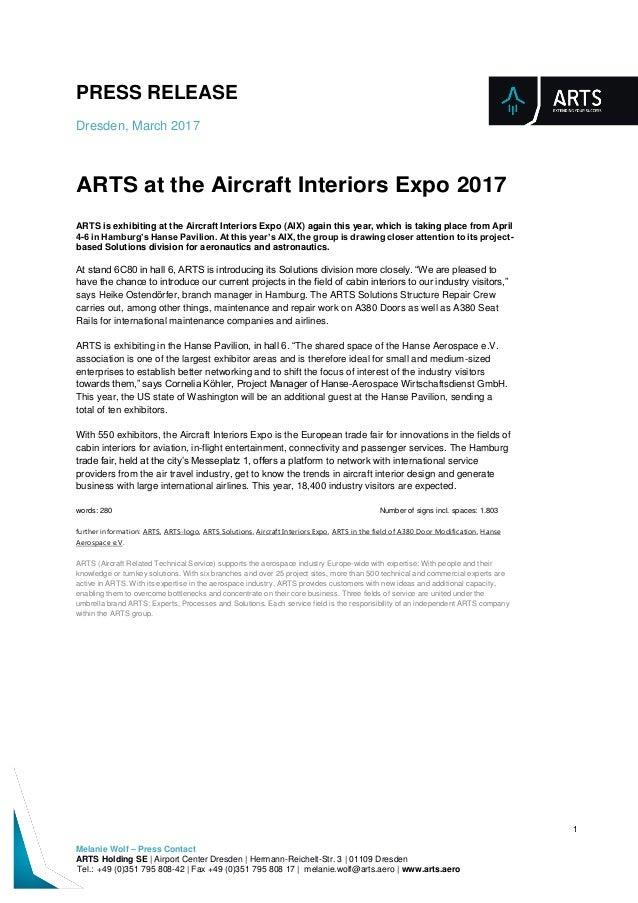 PRESS RELEASE Dresden, March 2017 1 Melanie Wolf – Press Contact ARTS Holding SE | Airport Center Dresden | Hermann-Reiche...