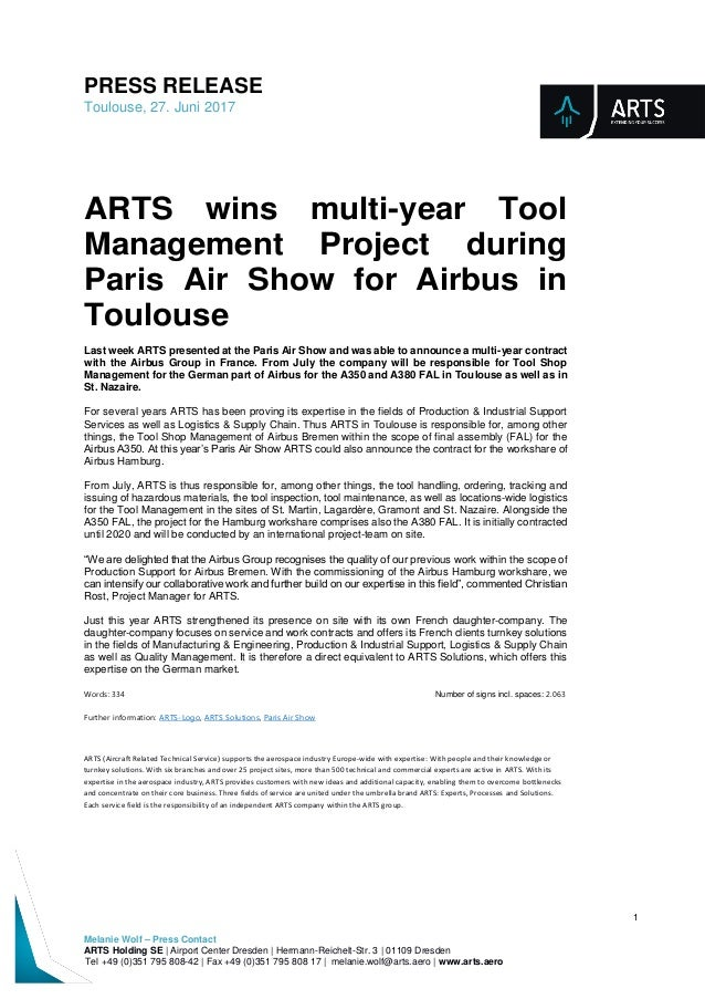 Press Release: ARTS wins multi-year Tool Management ...
