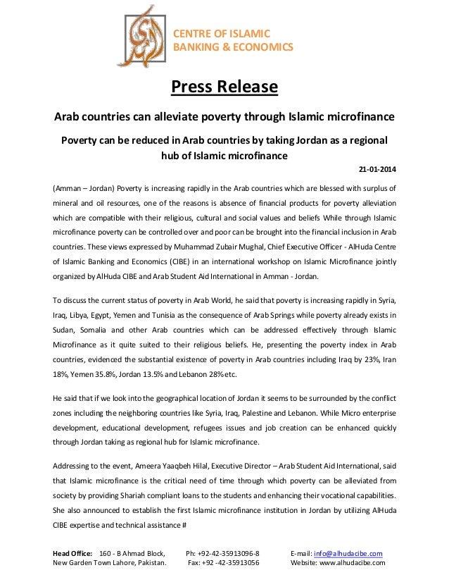CENTRE OF ISLAMIC BANKING & ECONOMICS  Press Release Arab countries can alleviate poverty through Islamic microfinance Pov...