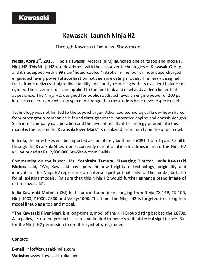 Kawasaki ninja h2 india launch press release kawasaki launch ninja h2 through kawasaki exclusive showrooms noida april 3rd 2015 india thecheapjerseys Images
