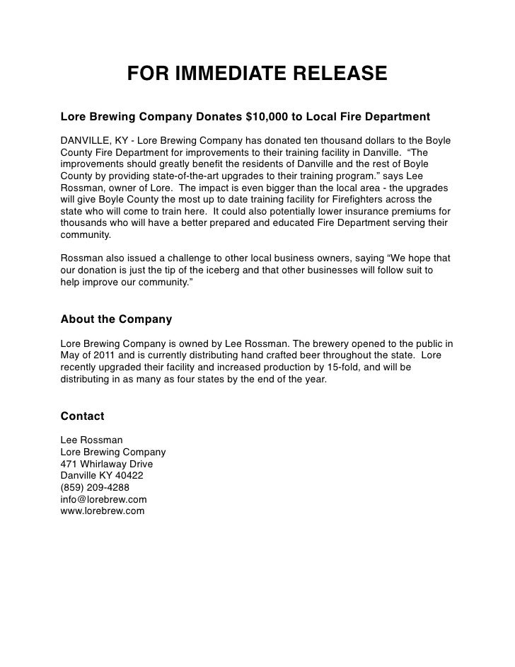 FOR IMMEDIATE RELEASELore Brewing Company Donates $10,000 to Local Fire DepartmentDANVILLE, KY - Lore Brewing Company has ...
