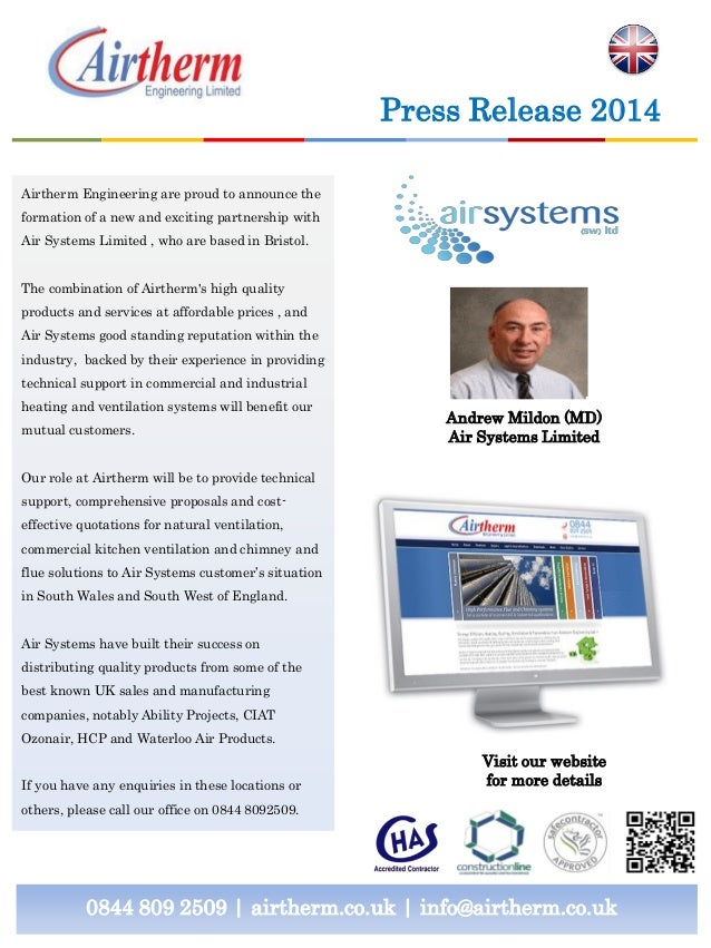 Press Release 2014 Airtherm Engineering are proud to announce the formation of a new and exciting partnership with Air Sys...