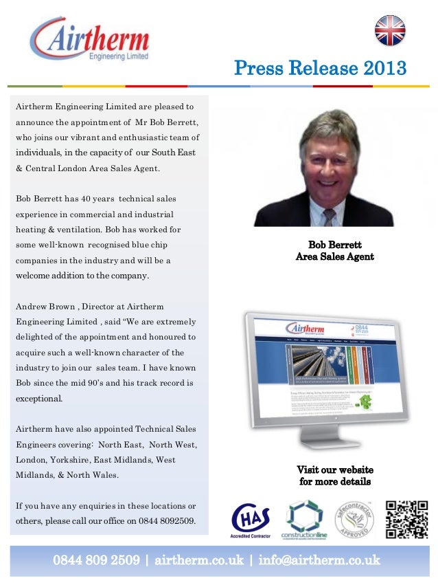 0844 809 2509 | airtherm.co.uk | info@airtherm.co.uk Press Release 2013 Bob Berrett Area Sales Agent Airtherm Engineering ...