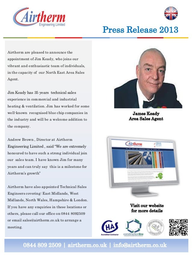 0844 809 2509 | airtherm.co.uk | info@airtherm.co.uk Press Release 2013 James Keady Area Sales Agent Airtherm are pleased ...