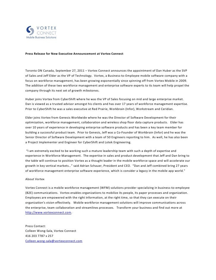 Press Release for New Executive Announcement at Vortex ConnectToronto ON Canada, September 27, 2011 – Vortex Connect annou...