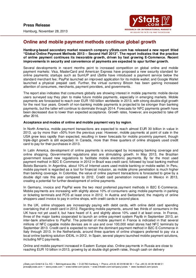 Press Release Hamburg, November 28, 2013  RESEARCH ON INTERNATIONAL MARKETS WE DELIVER THE FACTS YOU MAKE THE DECISIONS  O...