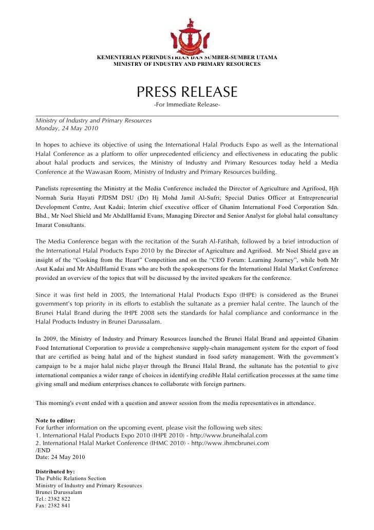 KEMENTERIAN PERINDUSTRIAN DAN SUMBER-SUMBER UTAMA                             MINISTRY OF INDUSTRY AND PRIMARY RESOURCES  ...