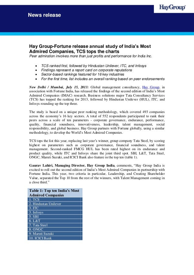 News release Hay Group-Fortune release annual study of India's Most Admired Companies, TCS tops the charts Peer admiration...