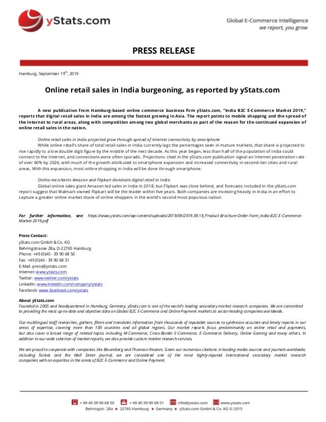 PRESS RELEASE Hamburg, September 19th , 2019 Online retail sales in India burgeoning, as reported by yStats.com A new publ...