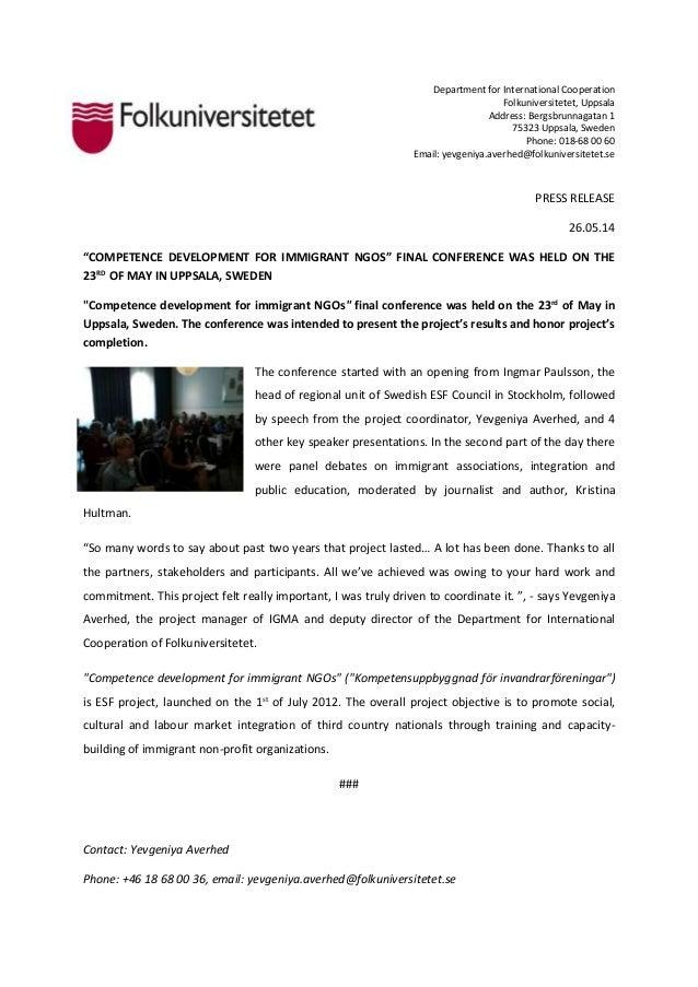 Department for International Cooperation Folkuniversitetet, Uppsala Address: Bergsbrunnagatan 1 75323 Uppsala, Sweden Phon...