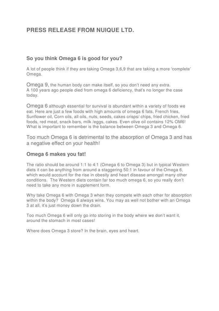 PRESS RELEASE FROM NUIQUE LTD.So you think Omega 6 is good for you?A lot of people think if they are taking Omega 3,6,9 th...