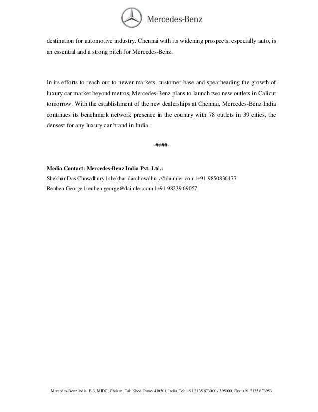 new car dealership press releaseMercedes Chennai Dealer Launched  Press Release
