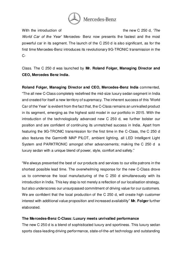 new car launch press releaseMercedes Benz C250 India Launch  Press Release