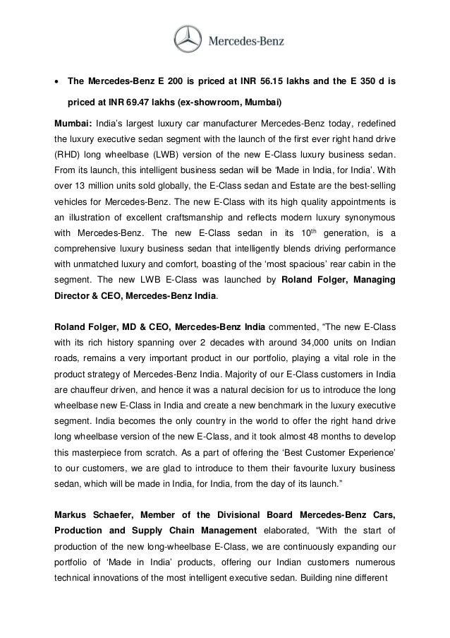 Mercedes benz e class lwb india launch press release for Mercedes benz press release