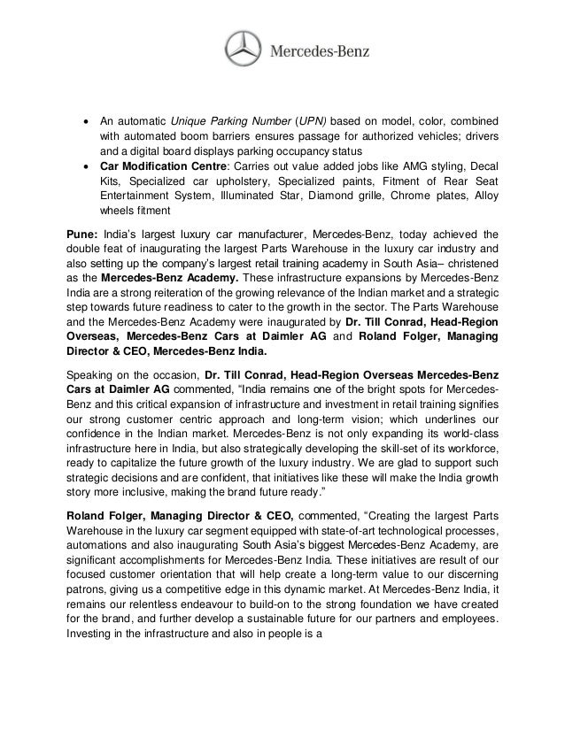 Mercedes india parts warehouse press release for Mercedes benz warehouse jobs