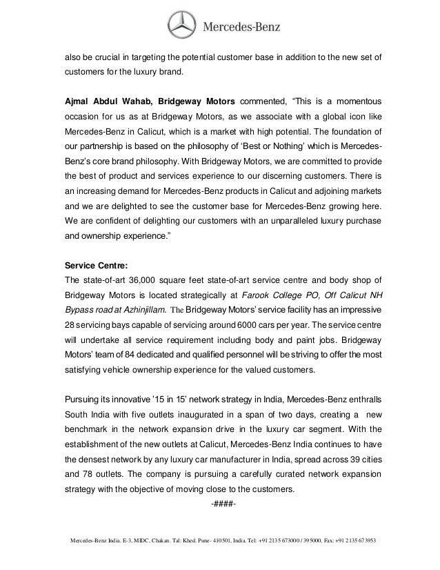new car dealership press releaseMercedes Calicut Dealer Launched  Press Release