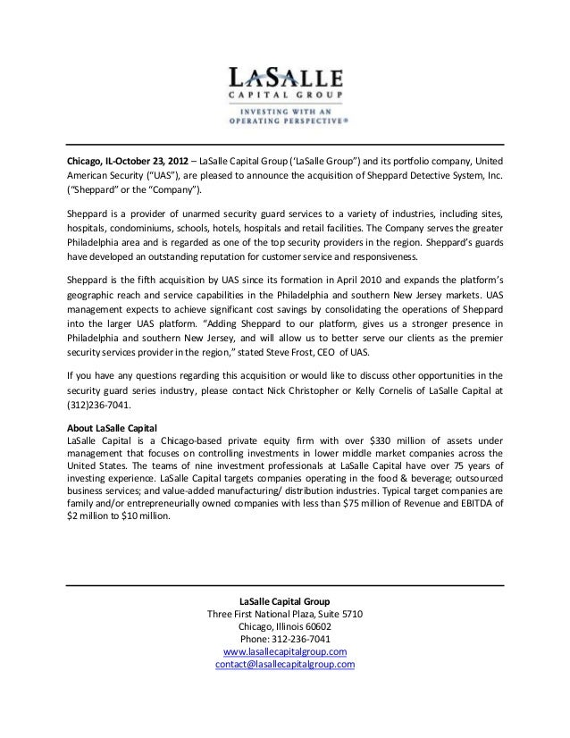 "Chicago, IL-October 23, 2012 – LaSalle Capital Group ('LaSalle Group"") and its portfolio company, UnitedAmerican Security ..."