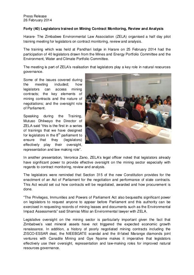 Press Release 26 February 2014 Forty (40) Legislators trained on Mining Contract Monitoring, Review and Analysis Harare- T...