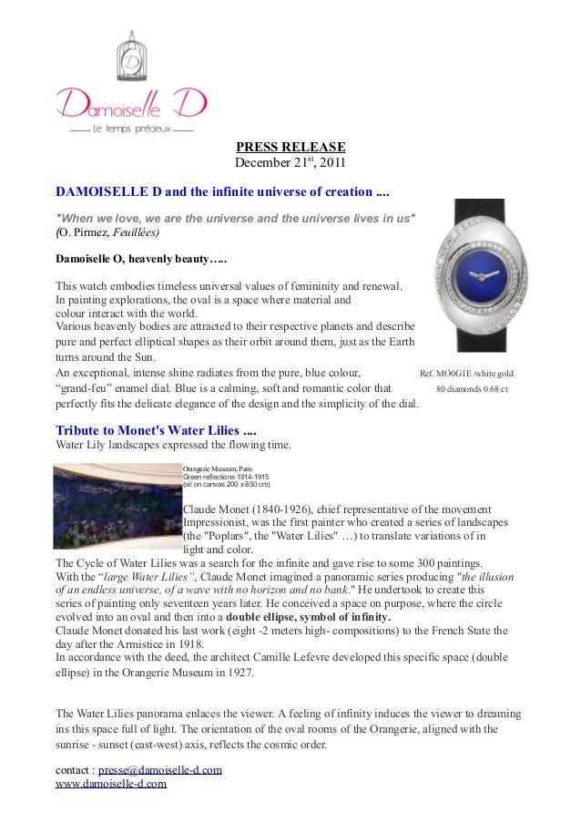 """PRESS RELEASE December 21st , 2011 DAMOISELLE D and the infinite universe of creation .... """"When we love, we are the unive..."""
