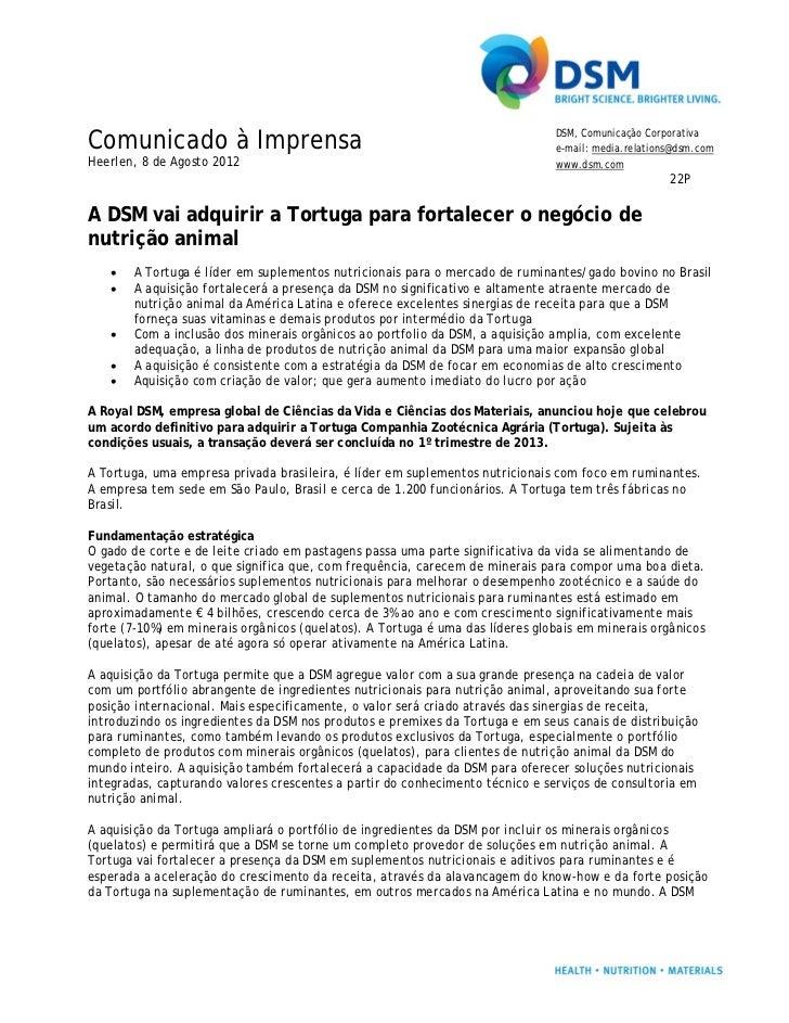 Comunicado à Imprensa                                                          DSM, Comunicação Corporativa               ...
