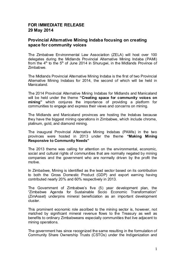 FOR IMMEDIATE RELEASE 29 May 2014 Provincial Alternative Mining Indaba focusing on creating space for community voices The...