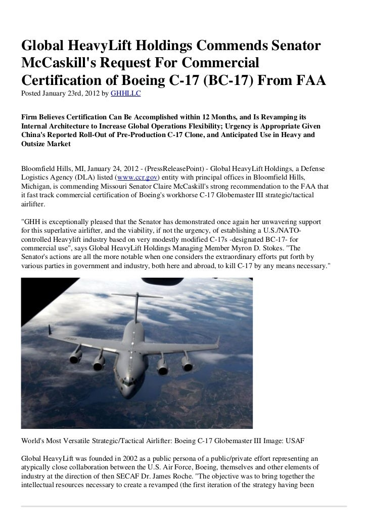 Global HeavyLift Holdings Commends SenatorMcCaskills Request For CommercialCertification of Boeing C-17 (BC-17) From FAAPo...