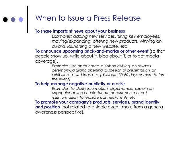 how to make a press release for an event