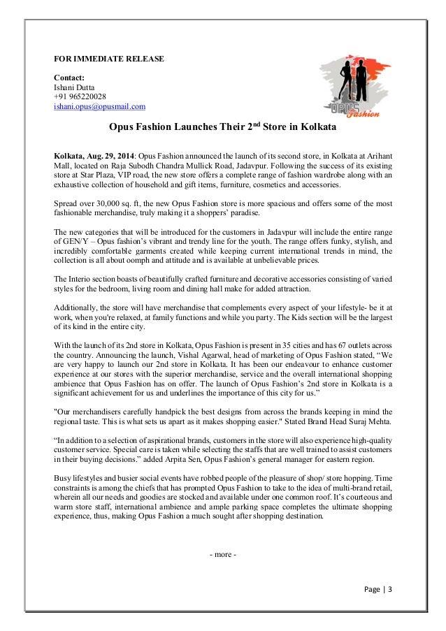 Sample fashion press releases 64