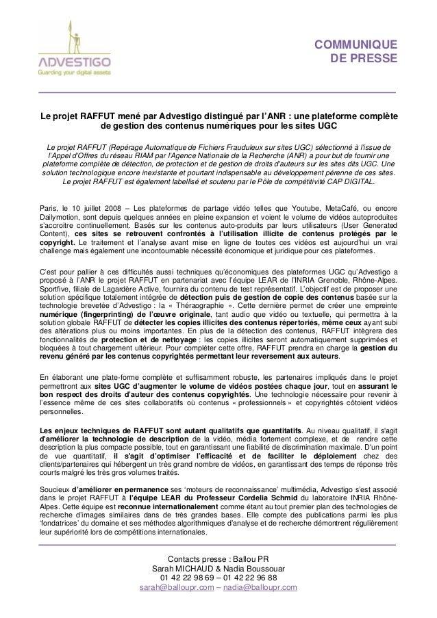 COMMUNIQUE DE PRESSE Contacts presse : Ballou PR Sarah MICHAUD & Nadia Boussouar 01 42 22 98 69 – 01 42 22 96 88 sarah@bal...