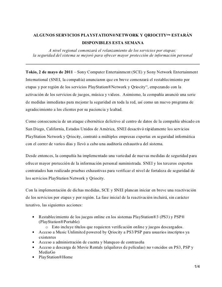 ALGUNOS SERVICIOS PLAYSTATION®NETWORK Y QRIOCITY™ ESTARÁN                                  DISPONIBLES ESTA SEMANA        ...