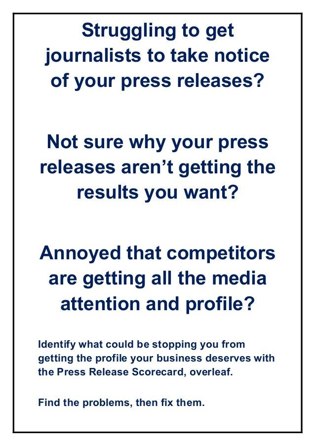 Struggling to get journalists to take notice of your press releases? Not sure why your press releases aren't getting the r...