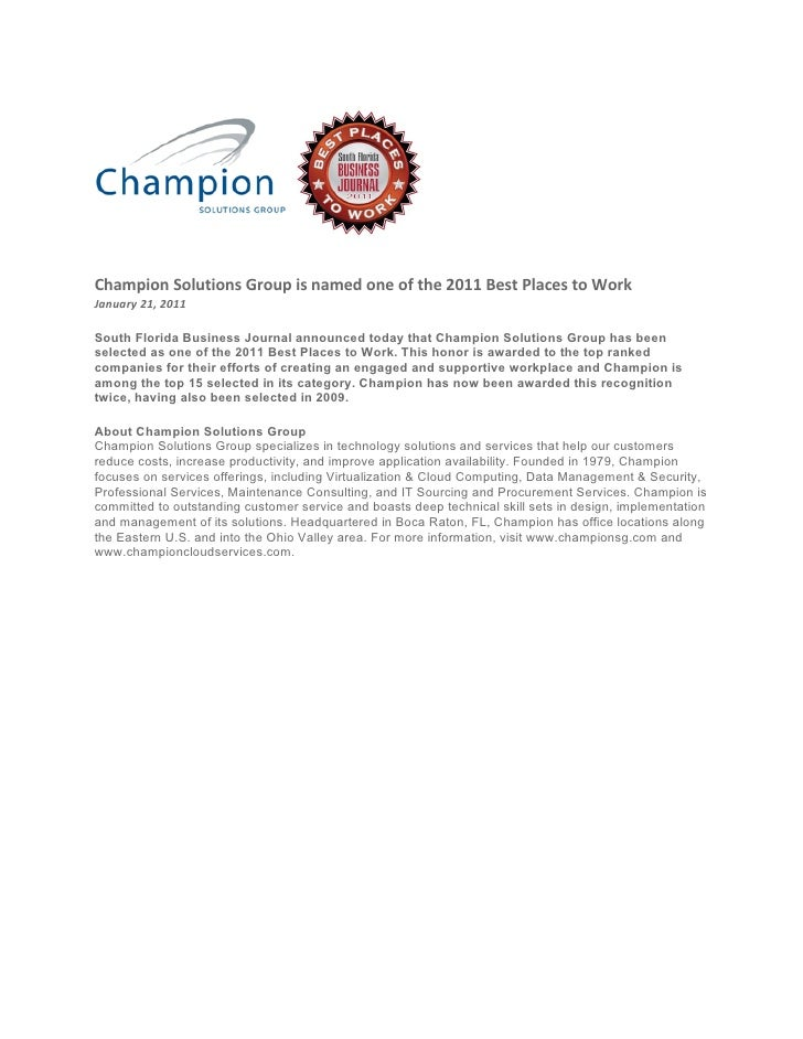 Champion Solutions Group is named one of the 2011 Best Places to WorkJanuary 21, 2011South Florida Business Journal announ...
