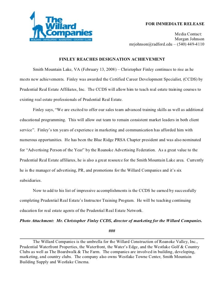Press Releases Finley