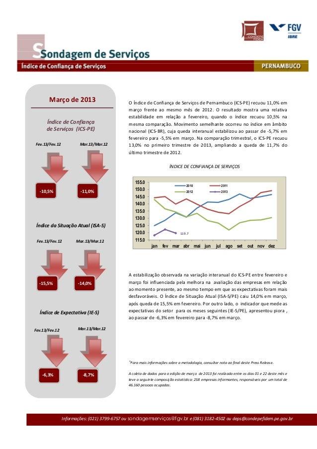 Março de 2013                        O Índice de Confiança de Serviços de Pernambuco (ICS-PE) recuou 11,0% em             ...