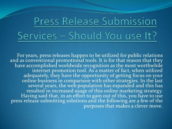 For years, press releases happen to be utilized for public relationsand as conventional promotional tools. It is for that ...