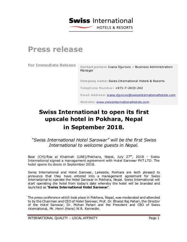 Swiss International To Open Its First Upscale Hotel In Pokhara Nepal