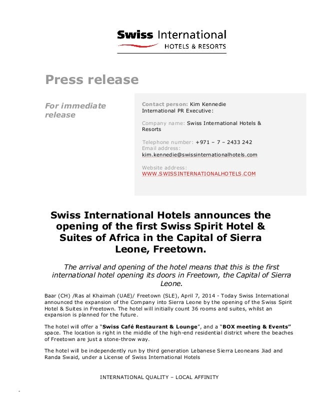 Press release opening of swiss spirit hotel and suites for Album press release template