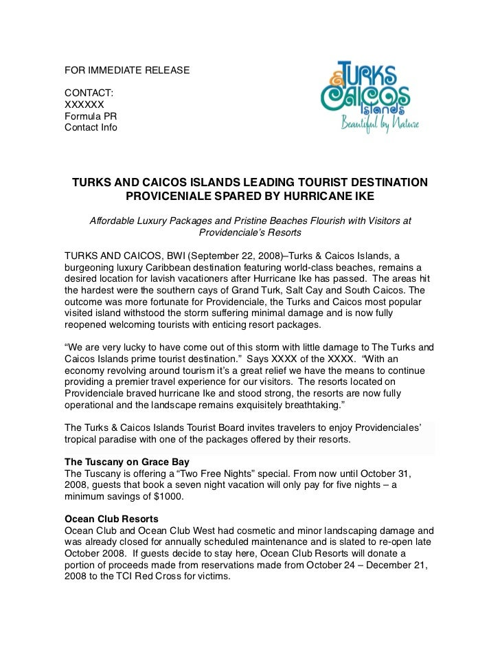 Press release example for Template of a press release