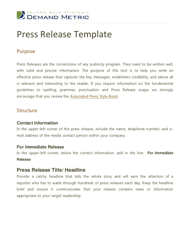 Press Release TemplatePurposePress Releases Are The Cornerstone Of Any  Publicity Program.