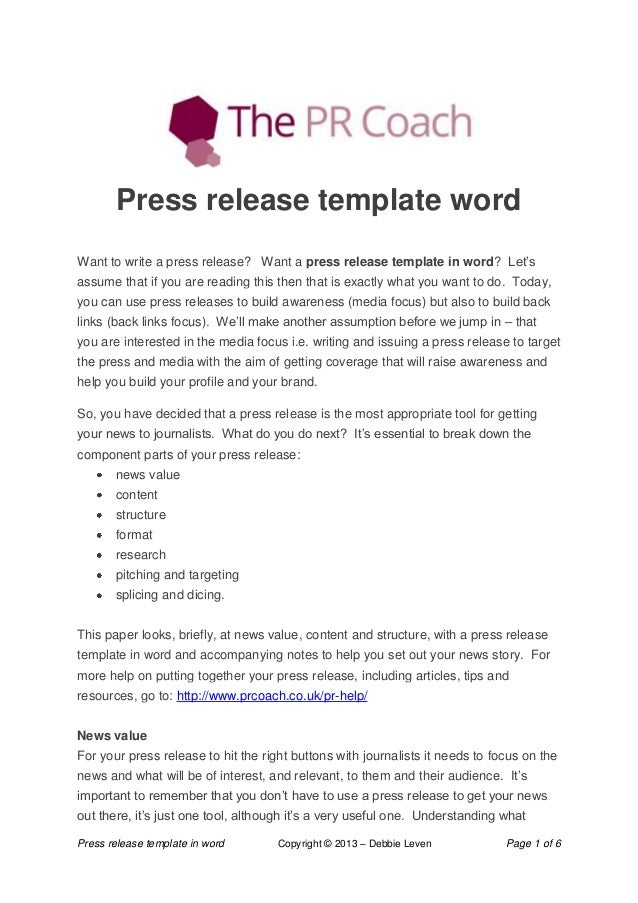 Press Release Template In Word Copyright © 2013 U2013 Debbie Leven Page 1 Of 6  Press ...
