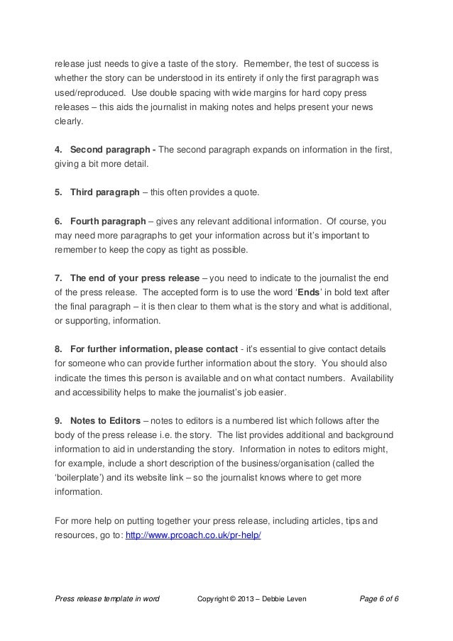 press release template in word