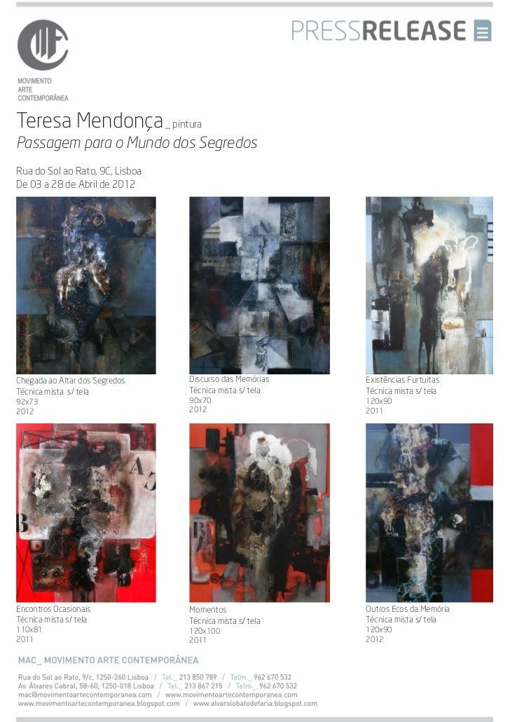 Press release teresa_mendonça_abril_2012