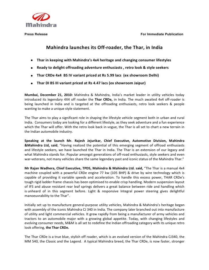 Press Release                                                                For Immediate Publication              Mahind...