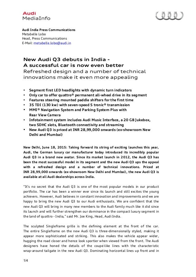 new car press release2015 Audi Q3 Facelift India launch Press Release
