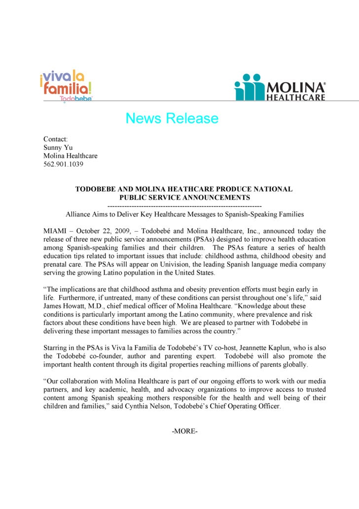News Release Contact: Sunny Yu Molina Healthcare 562.901.1039             TODOBEBE AND MOLINA HEATHCARE PRODUCE NATIONAL  ...