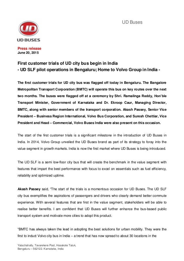 Yalachahally, Tavarekere Post, Hosakote Taluk, Bengaluru – 562122. Karnataka, India UD Buses Press release June 20, 2015 F...