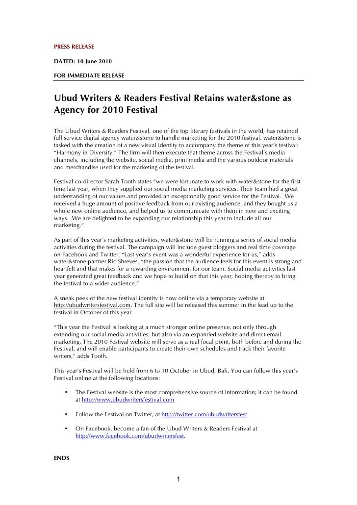 PRESS RELEASE  DATED: 10 June 2010  FOR IMMEDIATE RELEASE   Ubud Writers & Readers Festival Retains water&stone as Agency ...