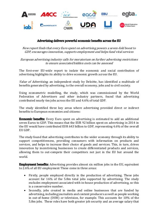 Advertising delivers powerful economic benefits across the EU New report finds that every Euro spent on advertising powers...