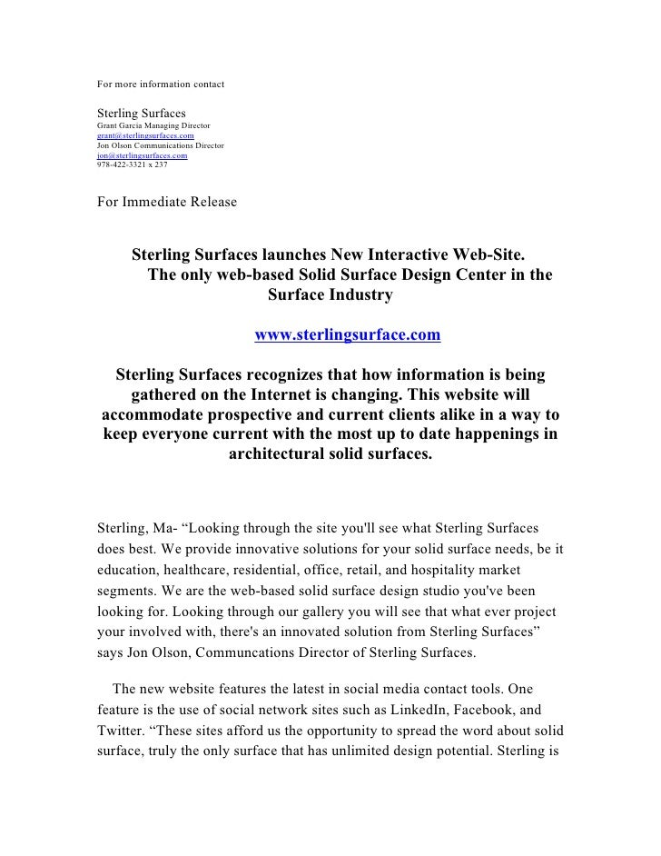For more information contact  Sterling Surfaces Grant Garcia Managing Director grant@sterlingsurfaces.com Jon Olson Commun...
