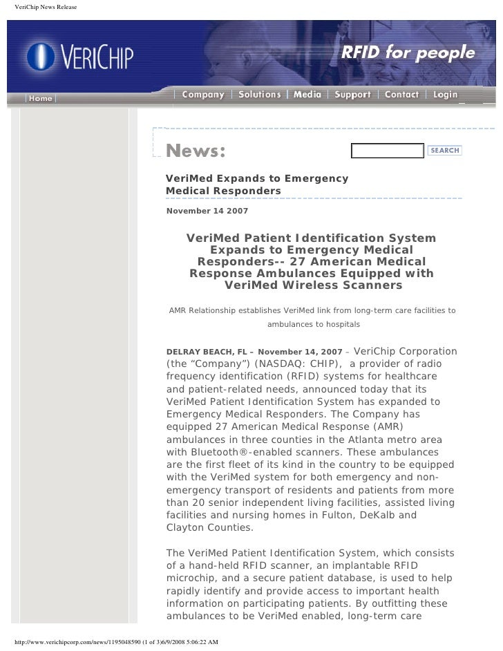 VeriChip News Release                                                         VeriMed Expands to Emergency                ...